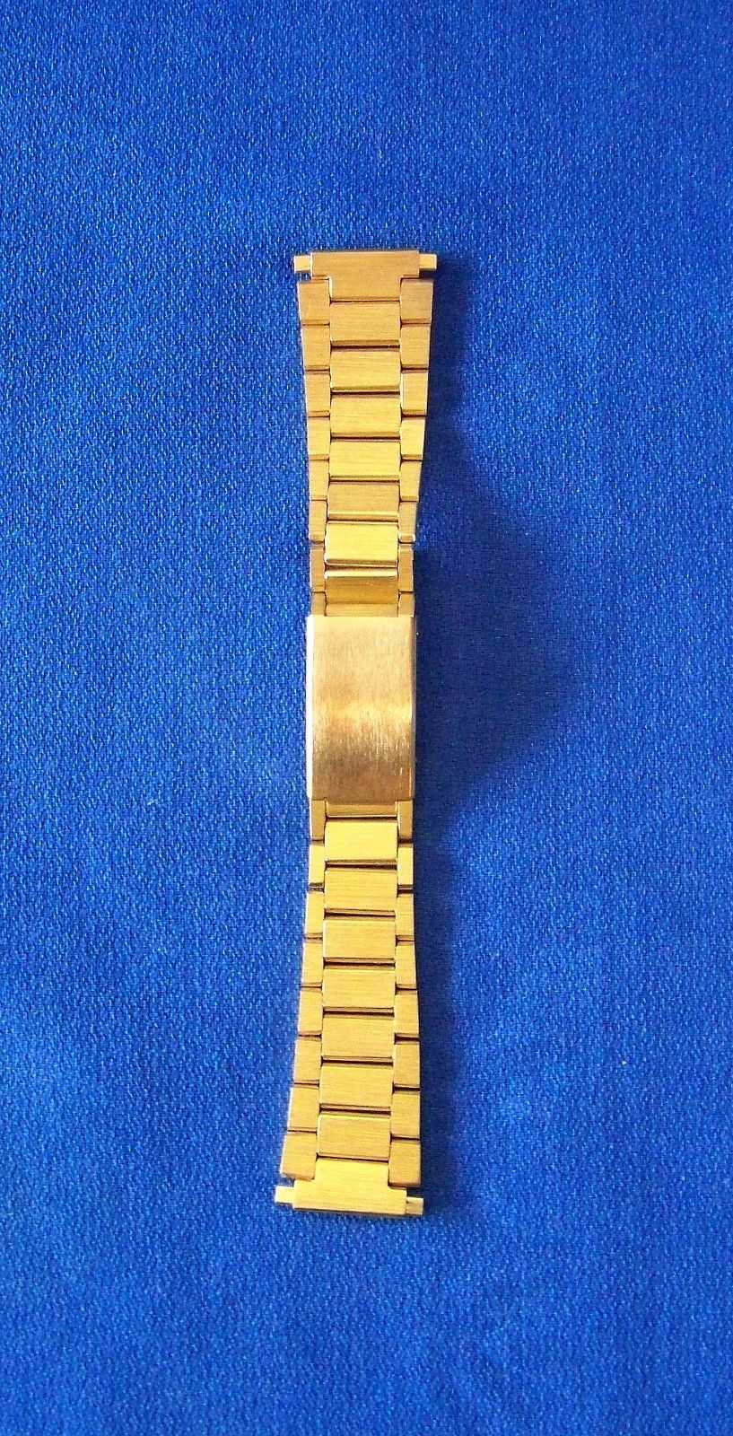 Vintage Speidel NOS Yellow Stainless Steel Watch Band,Trifold Clasp, Squeeze End - $24.99