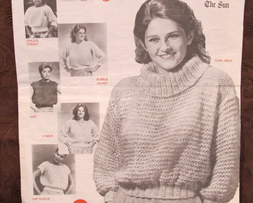 Vintage Knitting Patterns LADIES Condo Sweater Cowl Neck 7 ...