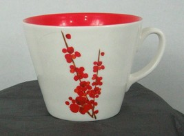 2008 Starbucks Collectible mug white w/ red oriental floral design red i... - $25.17