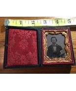 Ambrotype of Handsome Young Man Bow Tie Holding a Book Nice Case 1860's! - $95.00