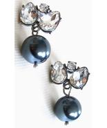 J Crew Jewel Box Black Pearl Crystal Earrings Gun Metal Setting Dressy P... - $19.00