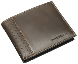 NEW GUESS MEN'S LEATHER CREDIT CARD ID WALLET PASSCASE BILLFOLD BROWN 31GU22X035