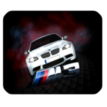 Mouse Pad BMW Logo Beautiful Luxury White Sport Car For Game Fantasy Animation - $9.00