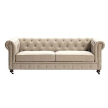 Sofa 32 in. H x 91 in. W x 38 in. D Solid Hardwood Frame Polyester Light Walnut - $1,368.94