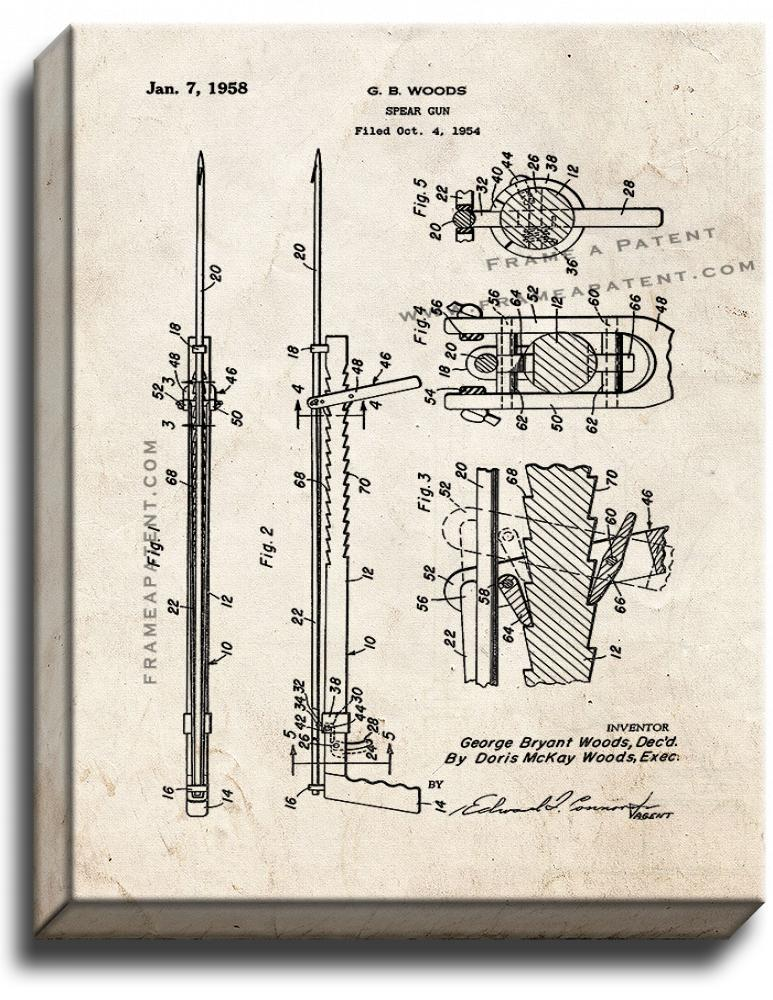 Primary image for Spear Gun Patent Print Old Look on Canvas