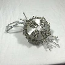 Vintage 60s/70s Satin White Silver Pearl Beaded Sequins Christmas Orname... - $27.55