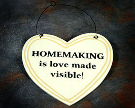 Homemaking Heart Shaped Wooden Plaque - $5.99