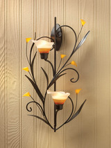 Candle Wall Sconce Two Amber Lily Cup Candle Holder - $28.95