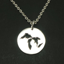 Handmade 925 Sterling Silver Michigan The Great Lakes Map Necklace Pendant - $42.00