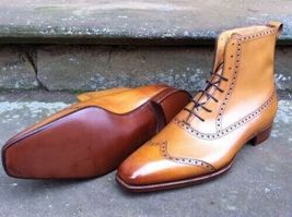 Handmade Men's Tan Wing Tip High Ankle Lace Up Leather Boots image 3