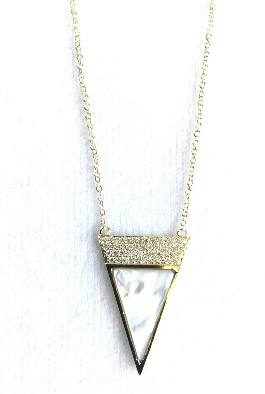"Jardin Pave Cubic Zirconia 18KT Gold Plated Triangle Necklace, 16"" + 3"" Extender"