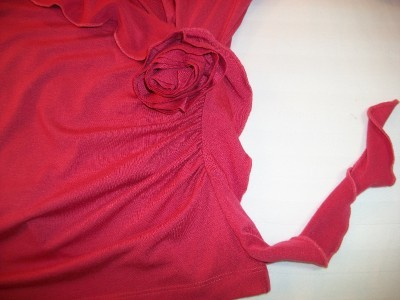 WOMEN STEENA FRILLED ROSE TOP SHIRT M MEDIUM