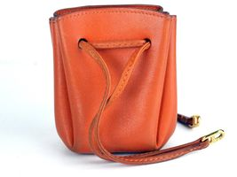 Authentic HERMES Paris Orange Leather Tiny Cosmetic Pouch Wristlet Purse France image 12