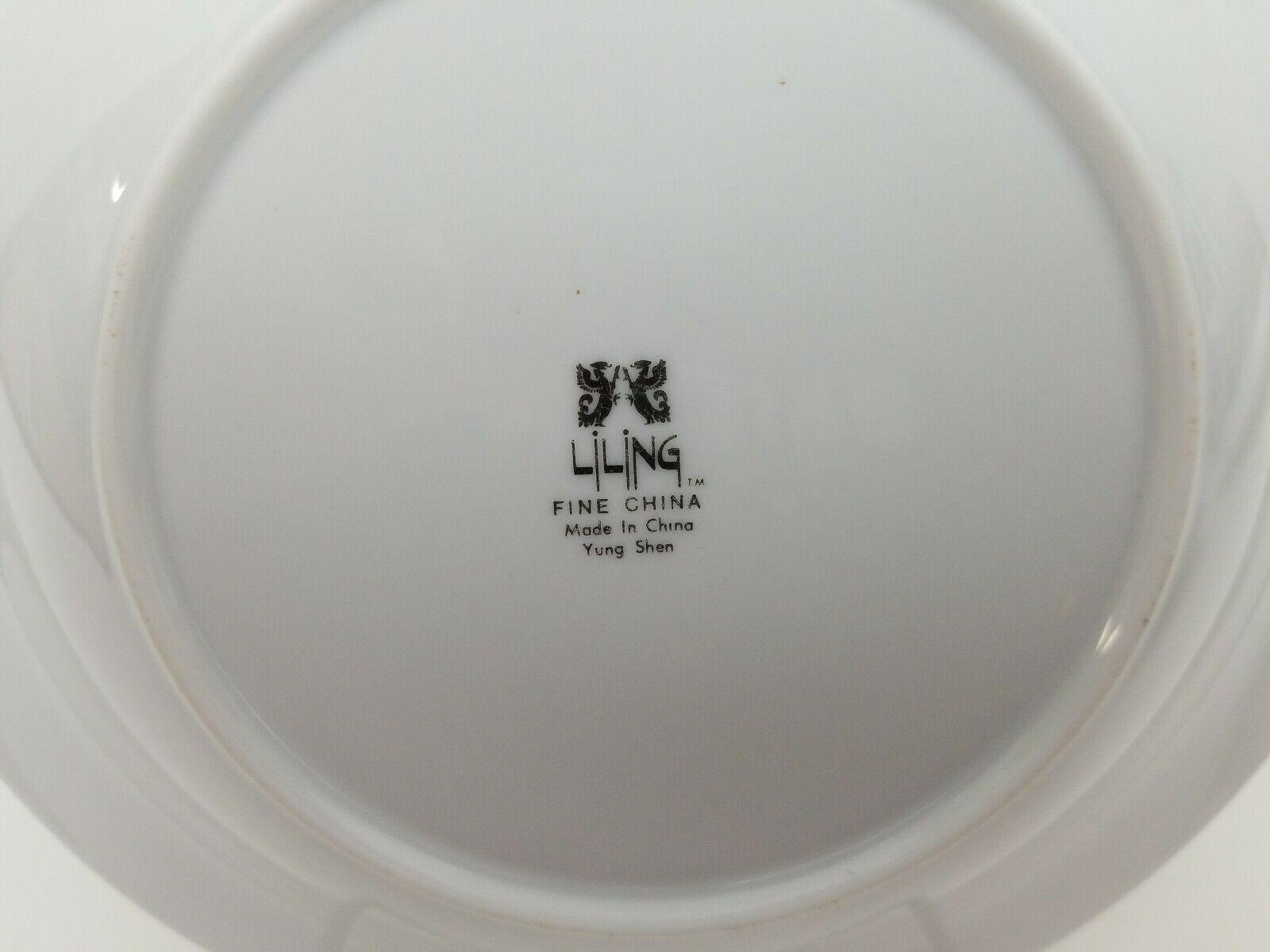 Liling Fine China Cereal Soup Bowls Set of 4 Yung Shen White Roses Keepsake 8.25 image 4