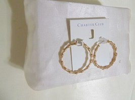 "Charter Club 1-5/8"" Gold-Tone Bamboo Textured Hoop Earrings N1062 $29 - $12.47"