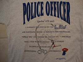 Vintage Police Officer Law Enforcer Gray Cotton T Shirt Size L - $14.76