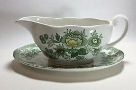 Enoch Wedgwood Tunstall Green Multicolor Kent Gravy Boat Bowl & Underplate - $14.83
