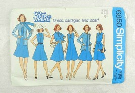"Vintage 1974 Simplicity Sewing Pattern 6850 Dress Cardigan Size 14 Bust 36"" - $11.87"