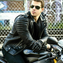Men's Motorcycle Biker Quilted Slim fit Black Real Leather Jacket Coat - $69.29+
