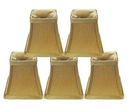 Urbanest Set of 5 Square 4-inch Softback Bell Chandelier Lamp Shade, Gold, Faux  - $32.66