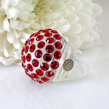 New Clear Acrylic Domed Ring Numerous Red Swarovski Elements Crystal On Dome image 4