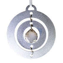 3D Aluminum and Crystal Circle Ornament image 1