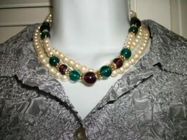 1928 Vintage 3 Strand Faux Pearl Necklace Big Bold Spring Easter - $10.00