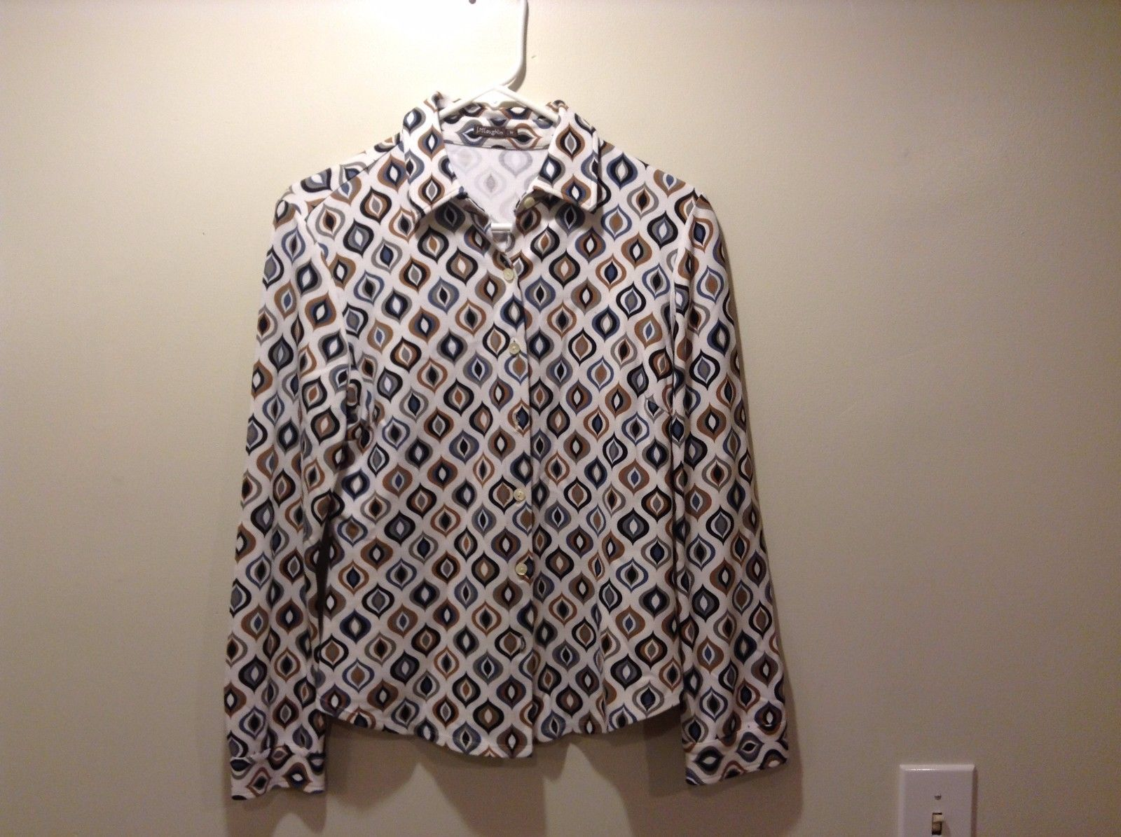 J McLaughlin Multicolored Flame Design Button Up Collared Print Shirt