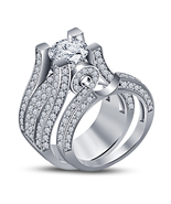 Diamond Wedding Designer Bridal Ring Set 14k White Gold Over 925 Sterlin... - £61.04 GBP