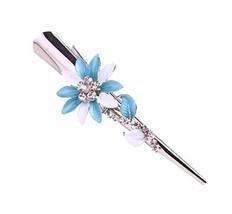 Blue Elegant Flower Dish Hair Headdress Hair Clips Horns Folder