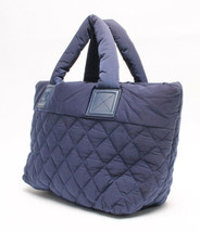 Auth CHANEL Cocoon Matelasse Tote Hand Bag Nylon Blue USED Logo B0199 - $1,227.72