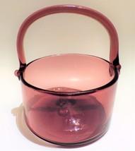 Hand Blown Glass Basket Amethyst Round Contemporary Style Centerpiece Decor - $24.70