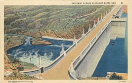 Linen Postcard B367 Driveway Across Elephant Butte Dam Hot Springs New M... - $7.00