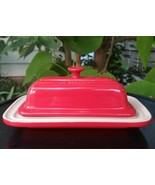 Le Creuset Covered Butter Dish Cerise Red Stoneware Discontinued  - $37.95