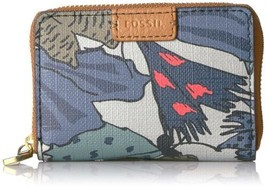 Fossil Rfid Mini Zip Card Case Wallet (Gray Multi) - $24.75