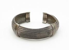 925 Sterling Silver - Vintage Twist Detailed Round Cuff Bracelet - B6222 image 2