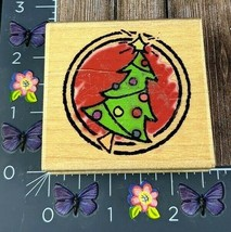 All Night Media Christmas Tree Circle Rubber Stamp 487F10 Holiday #I60 - $7.42