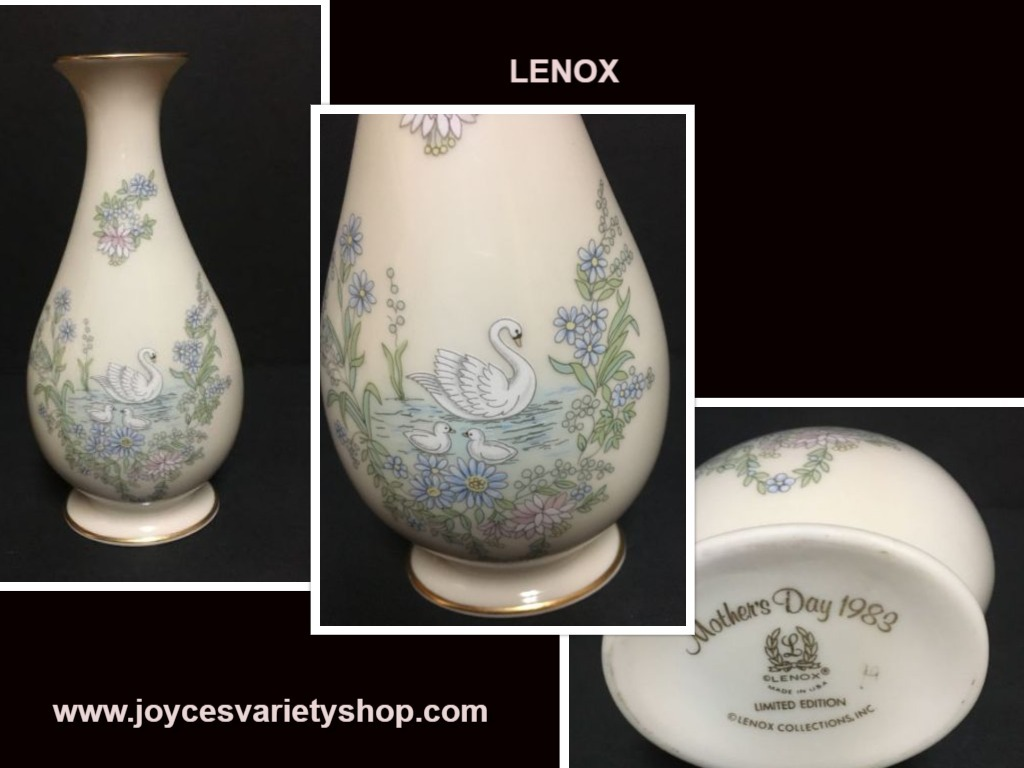 Lenox swan vase web collage