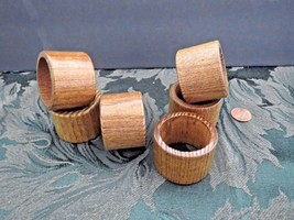 6 Mid Century Danish Mod Vintage Wood Napkin Rings - $4.90