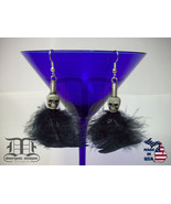 White Skull Bead Black Feather Silver Coil Dangle Earrings - Made In U.S.A. - $19.98