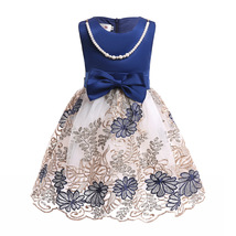 Flower Girls Dress Navy Blue Lace  Wedding Girls Pageant Gowns Ball Gown... - £25.34 GBP