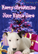 Bull Terrier Puppy Dog Merry Christmas Personalised Greeting Card Xmas codeXM164 - $3.88