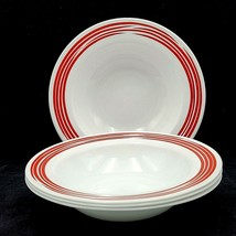 Corelle Corning Strokes Of Color Cranberry Red Dinner Pasta Bowls Set Of 4 - $39.88