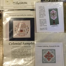 3 Colonial Samplers Ornament Counted Cross Stitch + Heritage Series Guil... - $9.89