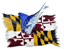 Marlin and Maryland State Flag Decal Sticker - Auto Car Truck RV Cell Cup Boat - $5.99+