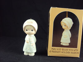 Precious Moments E-5390, May God Bless You WIth A Perfect Holiday Season, 1984 - $17.95