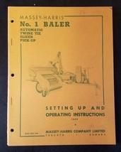 Original Massey Harris Setting Up & Operation Manual for No. 1 Baler - $9.85