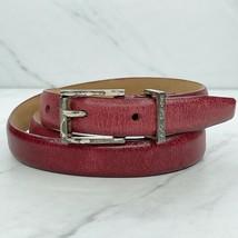 Calvin Klein Red Vintage Skinny Genuine Leather Belt Size Large L 34 - $24.18