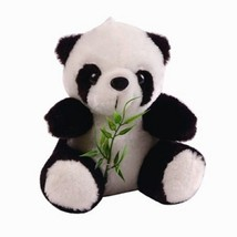 8 Inch Sitting Panda Bear with Bamboo Plush Toy, Black and White - $20.49