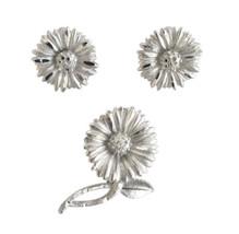 Vintage BSK Silver Tone Daisy Flower Brooch & Earring Clips - $26.00